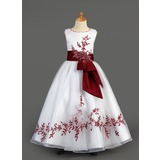 A-Line/Princess Scoop Neck Floor-Length Organza Charmeuse Flower Girl Dress With Embroidered Sash Beading Sequins (010005891)