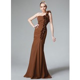 Mermaid One-Shoulder Floor-Length Chiffon Bridesmaid Dress With Ruffle Flower(s)