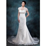 Mermaid Sweetheart Chapel Train Organza Wedding Dress With Ruffle Beadwork (002004773)