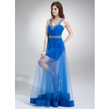 Sheath V-neck Floor-Length Tulle Prom Dress With Ruffle Beading