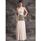 Sheath Sweetheart Floor-Length Chiffon Charmeuse Sequined Mother of the Bride Dress With Ruffle (008015030)