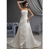 A-Line/Princess Cathedral Train Satin Wedding Dress With Embroidery Ruffle Beading