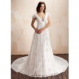 A-Line/Princess Square Neckline Watteau Train Chiffon Lace Wedding Dress With Ruffle Beadwork Flower(s) (002011929)