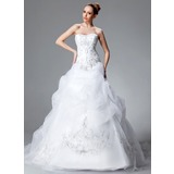 Ball-Gown Sweetheart Chapel Train Organza Satin Wedding Dress With Embroidered Ruffle Beading Sequins
