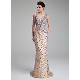 Sheath V-neck Sweep Train Chiffon Prom Dress With Beading