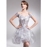 A-Line/Princess Off-the-Shoulder Short/Mini Organza Charmeuse Homecoming Dress With Ruffle Beading Sequins