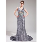 A-Line/Princess V-neck Court Train Tulle Sequined Prom Dress With Beading