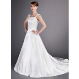 A-Line/Princess Court Train Satin Wedding Dress With Lace Beadwork (002012714)