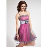 A-Line/Princess Short/Mini Taffeta Tulle Homecoming Dress With Lace Beading Flower(s) Sequins (022010074)