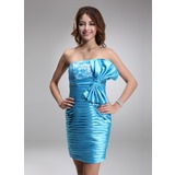Sheath Strapless Knee-Length Charmeuse Cocktail Dress With Ruffle Lace Beading (016008390)