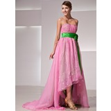 Empire Sweetheart Asymmetrical Organza Charmeuse Holiday Dress With Ruffle Flower(s) (020014419)