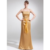 Sheath Strapless Floor-Length Organza Charmeuse Mother of the Bride Dress With Ruffle Beading