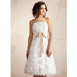 A-Line/Princess Scalloped Neck Knee-Length Charmeuse Lace Wedding Dress With Ruffle Sashes