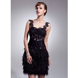 A-Line/Princess Sweetheart Knee-Length Tulle Feather Cocktail Dress With Ruffle Lace Beading