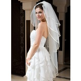 Four-tier Bridal Veils for Short Hair With Ribbon Edge