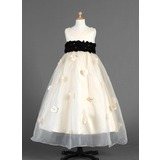 Empire Scoop Neck Ankle-Length Organza Flower Girl Dress With Sash Flower(s)