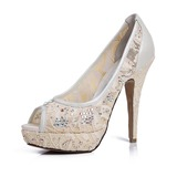 Women's Lace Leatherette Stiletto Heel Peep Toe Platform Sandals With Rhinestone