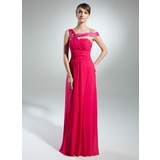 A-Line/Princess Off-the-Shoulder Watteau Train Chiffon Charmeuse Prom Dress With Ruffle Beading