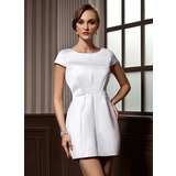 Sheath Scoop Neck Short/Mini Satin Cocktail Dress (016008261)
