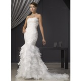 Mermaid Strapless Court Train Organza Wedding Dress With Lace Beadwork