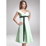 Empire Off-the-Shoulder Knee-Length Satin Bridesmaid Dress With Ruffle Sash