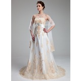 Empire Sweetheart Court Train Satin Tulle Wedding Dress With Lace Crystal Brooch