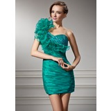 Sheath/Column One-Shoulder Short/Mini Organza Charmeuse Homecoming Dress With Ruffle Beading