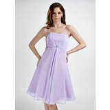 Empire Strapless Knee-Length Chiffon Bridesmaid Dress With Ruffle Beading