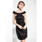 Sheath/Column Off-the-Shoulder Knee-Length Sequined Prom Dress