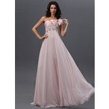 Empire One-Shoulder Floor-Length Chiffon Prom Dress With Ruffle Lace Beading