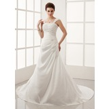 A-Line/Princess Chapel Train Taffeta Wedding Dress With Ruffle Lace Beading