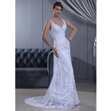Sheath/Column V-neck Sweep Train Satin Lace Wedding Dress With Ruffle Beading