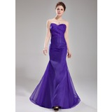Mermaid Sweetheart Sweep Train Organza Bridesmaid Dress With Ruffle (007019653)