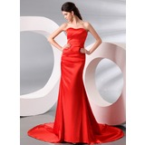 Trumpet/Mermaid Sweetheart Court Train Charmeuse Evening Dress With Ruffle