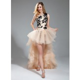 Sheath/Column One-Shoulder Asymmetrical Detachable Tulle Prom Dress With Embroidered Lace Beading Cascading Ruffles