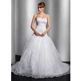 Ball-Gown Sweetheart Court Train Organza Satin Wedding Dress With Embroidery Beadwork (002014762)