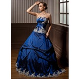 Ball-Gown Strapless Sweep Train Taffeta Quinceanera Dress With Embroidered Ruffle Beading (021003128)