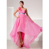 Empire One-Shoulder Asymmetrical Organza Charmeuse Prom Dress With Sash Flower(s)
