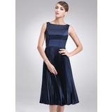 A-Line/Princess Square Neckline Knee-Length Charmeuse Bridesmaid Dress With Pleated