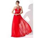 A-Line/Princess Scoop Neck Sweep Train Chiffon Prom Dress With Ruffle Beading Appliques Lace Split Front