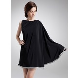 A-Line/Princess Scoop Neck Knee-Length Chiffon Cocktail Dress With Beading (016008528)