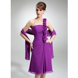 A-Line/Princess One-Shoulder Knee-Length Chiffon Mother of the Bride Dress With Ruffle Flower(s)