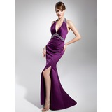 Sheath Halter Sweep Train Satin Evening Dress With Ruffle Beading Sequins (017014679)