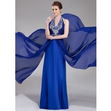 A-Line/Princess Halter Floor-Length Chiffon Prom Dress With Beading