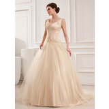 Ball-Gown V-neck Court Train Satin Tulle Wedding Dress With Lace Beadwork (002012825)