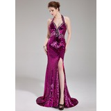 Trumpet/Mermaid Halter Sweep Train Sequined Prom Dress With Beading Split Front