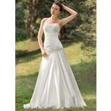 A-Line/Princess Sweetheart Sweep Train Charmeuse Wedding Dress With Ruffle Lace Beading Sequins