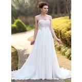 Empire Sweetheart Court Train Chiffon Wedding Dress With Ruffle Lace Beadwork (002012793)