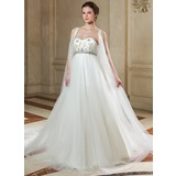 Empire Sweetheart Chapel Train Satin Tulle Wedding Dress With Beadwork