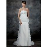Empire Strapless Court Train Organza Satin Wedding Dress With Flower(s) Cascading Ruffles